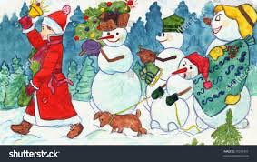 santa claus coming give gifts childs stock illustration 90371497