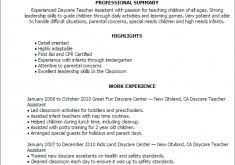 Daycare Resume Examples by Ats Friendly Resume Haadyaooverbayresort Com