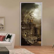 3d door paste european castle stickers living room bedroom door
