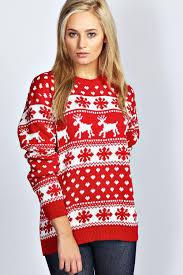 christmas jumper hollie reindeers and snowflake christmas jumper boohoo