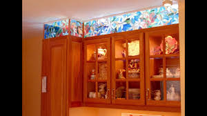 faux stained glass kitchen cabinets kitchen cabinet faux stained glass and led lighting 9