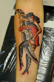 dagger pinup traditional tattoo by keelhauled mike black anchor