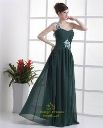 forest green dresses for bridesmaids emerald green one shoulder