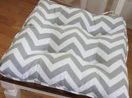 country tufted cushion chair pad in gray white chevron zigzag