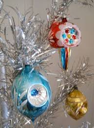 Glass Bell Christmas Ornaments - vintage mixed set of 3 blue glass bell christmas ornaments