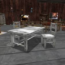 White Wash Table And Chairs Second Life Marketplace Old Whitewashed Dining Set
