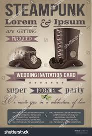 steampunk invitation card vintage wedding stock vector 161996114