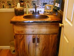 Small Rustic Bathroom Ideas Brown Varnished Teak Wood Base Vanity Cabin Rustic Bathroom