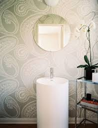 Bathroom Wallpaper Modern - gray paisley bathroom wallpaper design ideas