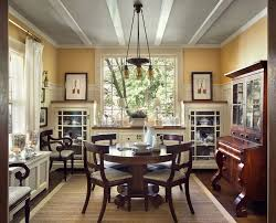 built in cabinets dining room traditional with crown molding tables