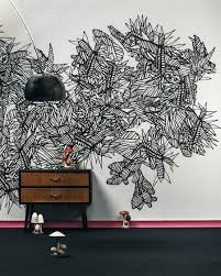 bedroom creative wall mural inspiration fascinating ideas astounding black abstract wall mural on white walls