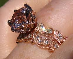 gold wedding set wedding set morganite engagement ring and wedding band