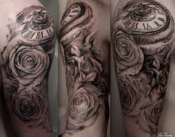 roman numerals gears and clock tattoos for men in 2017 real photo