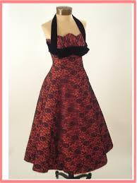 50 u0027s red taffeta black lace party dress vintage halter dress