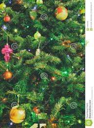 christmas tree with lights and spheres stock photo image 64402942