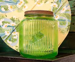 found in ithaca large green depression glass kitchen canister