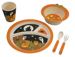 bamboo studio bamboo kids halloween pumpkin 5 piece dinnerware set