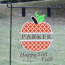 halloween yard flags quatrefoil pumpkin plexiglass garden flag personalization to