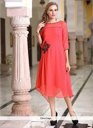 flatter pink embroidered kurti