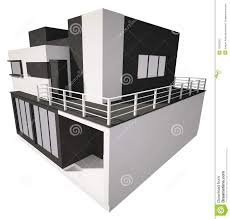 front of modern private house exterior 3d render stock photos