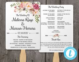 fan wedding program template wedding program fan template bohemian floral instant