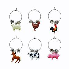 set of 6 country barnyard themed wine charms country western