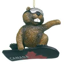 beaver on a snowboard ornament retrofestive ca
