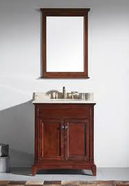 30 inch brown bathroom vanity set with white carrera marble top