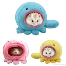 Hamster Bed Cute Octopus Design Warm Plush Winter Hamster Mice House Cage