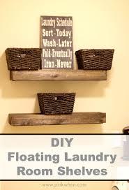 Laundry Room Storage Cabinets Ideas by Storage U0026 Organization Diy Wooden Floating Laundry Room Shelving
