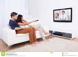 Living Room Tv by Couple Watching Tv In Living Room Stock Photo Image 47174959