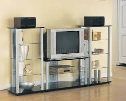 silver u0026 black modern tv stand w black glass shelves