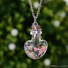 glass bottle necklace pendant images Wholesale wishing bottle necklace drift heart bottle pendant mini jpg