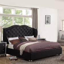 bedroom wonderful leather upholstered headboard king dark wood