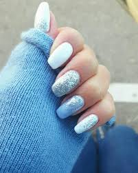 white light blue glitter silver gel nails nail color