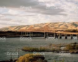Map Oregon Washington State Stock by Bridge Over Columbia River The Dalles Oregon United States Stock
