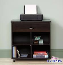 Desk With Printer Storage Wooden Utility Cart Printer Stand Office Storage Table Scanner