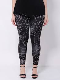 plus size stretchy spider web print leggings black xl in plus