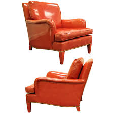 Red Club Chair Pair Of Hollywood Regency Red Vinyl English Style Fun Club Lounge