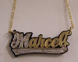 gold name plates gp gold plated nameplate necklaceblack onyxpersonalized nikfine