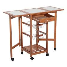 island trolley kitchen homcom folding rolling trolley kitchen cart table island with