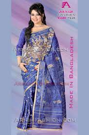 dhakai jamdani karchupi blue dhakai jamdani saree from arnim fashion