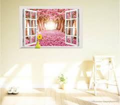 wholesale diy beautiful diy 3d window scenery flower pink sakura
