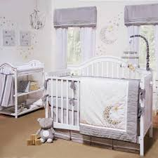 gray u0026 white celestial moon w stars baby unisex nursery 4 pc crib
