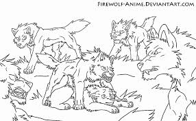 wolf pack lineart