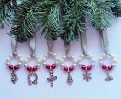 6 silver white ornaments holidays ribbon