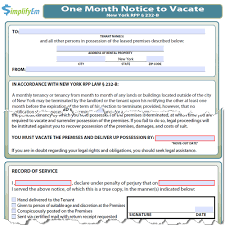 Lease Termination Notice From Landlord by New York Landlord Notice To Vacate