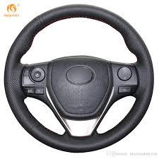 toyota rav4 steering wheel cover mewant black genuine leather car steering wheel cover for toyota