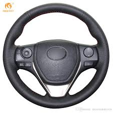 toyota corolla steering wheel cover mewant black genuine leather car steering wheel cover for toyota