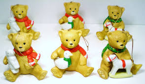 ceramic porcelain ornaments 6 bears with toys qvc 1990